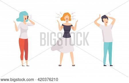 Angry Furious People Set, Indignant Aggressive Male And Female Characters Shouting, Threatening, Arg