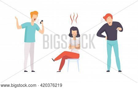 Angry Furious People Set, Aggressive Male And Female Characters Yelling, Arguing And Gesturing Flat