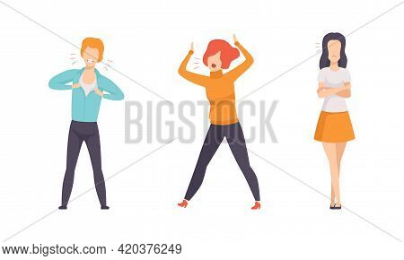 Aggressive Furious People Set, Indignant Male And Female Characters Yelling, Arguing And Gesturing F