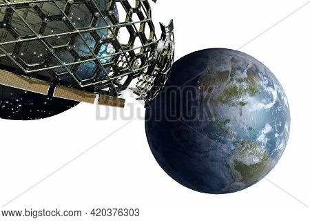 3d Honeycomb Geodesic Structure Surrounding A Spherical Spaceship Near Earth With Included Clipping