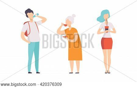 Set Of People Drinking Various Drinks, Male And Female Characters With Tea, Water And Soda Drinks Fl