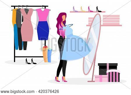 Choosing Clothes In Wardrobe Flat Illustration. Shopper Buying New Outfit In Clothing Store. Elegant