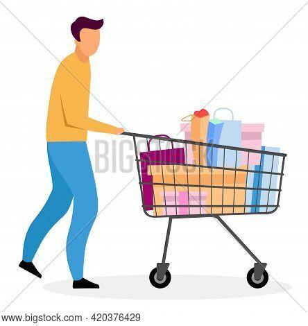 Man With Shopping Cart Flat Vector Illustration. Cartoon Boy Buying Gifts. Husband Purchasing Christ