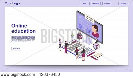 Online Education Webpage Vector Template With Isometric Illustration. E Learning. Online Courses, Cl