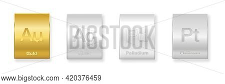 Gold, Silver, Platinum And Palladium Bars. Four Precious Metals, Chemical Elements With A High Econo