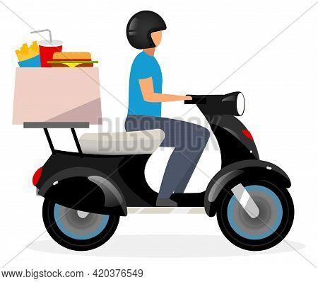 Fast Food Delivery Service Flat Vector Illustration. Motorcyclist Driving Scooter Cartoon Character