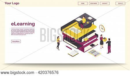 E Learning Webpage Vector Template With Isometric Illustration. Digital Library. Online School, Clas