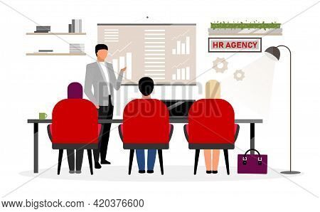 Hr Agency Workers Meeting Flat Vector Illustration. Boss, Top Manager Making Presentation, Report. C