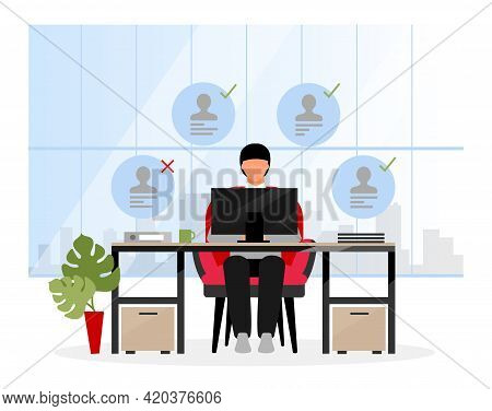 Choosing Candidates At Hr Agency Flat Illustration. Chief Expert, Boss Selecting Applicants For Inte