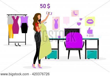Beauty Blogger Flat Vector Illustration. Vlogger Streaming Video. Social Media Content. Womens Blog.