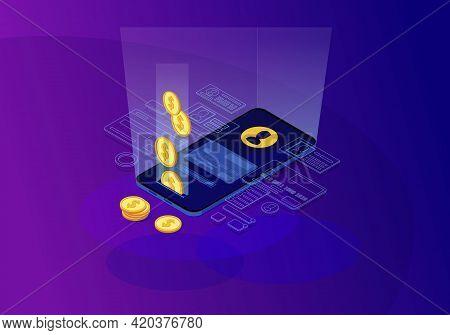 Online Money Transfer Isometric Color Vector Illustration. Financial Transaction. E-payment. Mobile