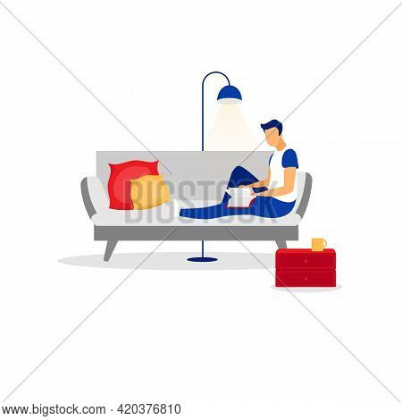 Man, Entrepreneur, Manager, Businessman, Male Reading Book Flat Vector Illustration. Isolated Cartoo