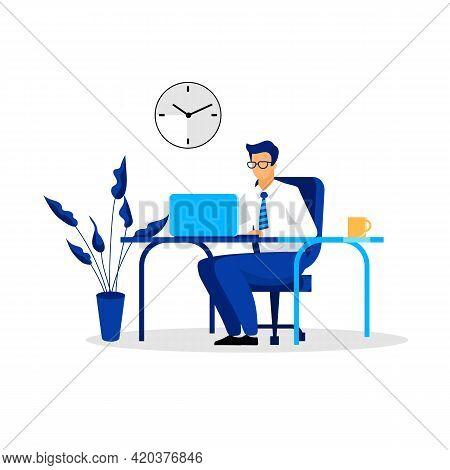 Businessman, Entrepreneur, Ceo, Banker, Financer, Consultant Working In Office Flat Vector Illustrat