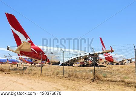 May 12, 2021 In Victorville, Ca:  Jumbo Jet A380 Aircraft In Storage At The Victorville, Ca Aircraft