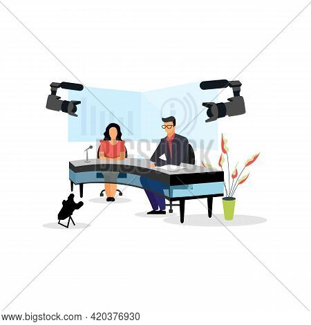 Television Presenter, Journalists At News Studio Flat Vector Illustration. Newscasters Broadcasting,
