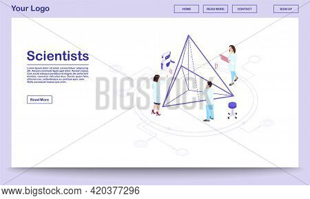 Computer Assisted Science Isometric Webpage Template. Scientists With Ai Assistant. Geometry Experts