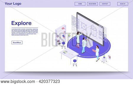 Scientific Exploration Isometric Landing Page Template. Cartoon Mathematicians Analysing Data On Int
