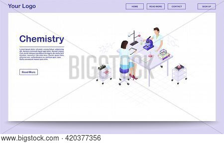 Chemistry Lab Staff Isometric Landing Page Template. Male Scientist Studying Substance Sample In Mic