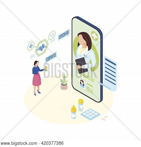 Doctor Consulting Online Isometric Illustration. Ill Patient Explaining Symptoms To Remote Medical S