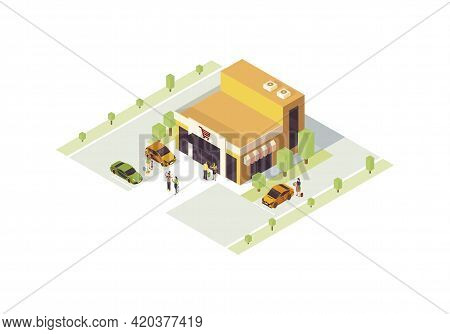 Supermarket Isometric Color Vector Illustration. Shop Building Infographic. Doing Purchases. Grocery