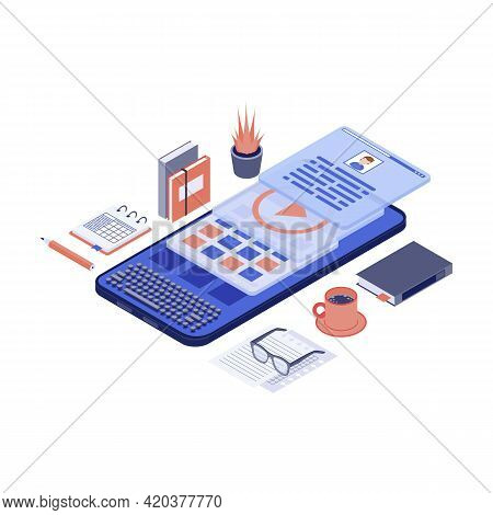 Mobile Marketing Content And Copywriting Isometric Vector Illustration. Smm, Advertising Creation 3d