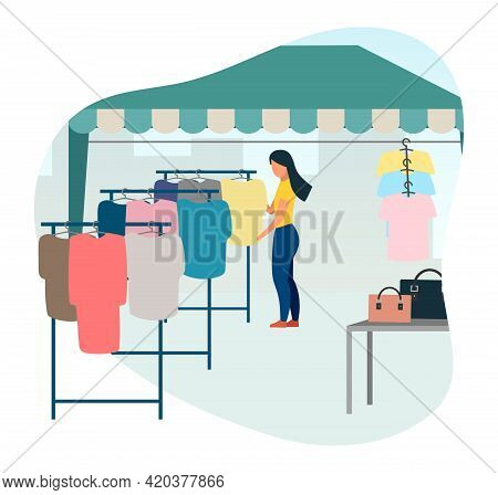 Woman Buying Clothes At Street Market Flat Vector Illustration. Trade Tent, Fair Awning. Buyer At Ou