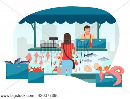 Woman Buying Seafood At Street Market Stall Flat Illustration. Fresh Sea Food In Ice Trade Tent, Fis