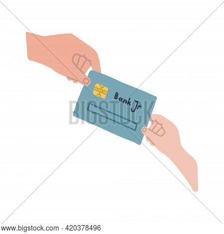 The Adult Gives The Child A Debit Card For The Kids. Childrens Finance And Investment. Financial Lit
