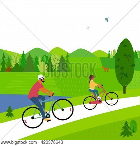 Dad, Daughter Ride Bicycle In Woodland Flat Color Vector. Father, Baby Kid Cute Cartoon Illustration