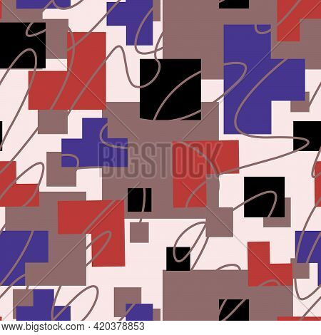 Abstract Seamless Pattern Of Rectangular Shapes Crossed By Smooth Lines On A Pastel Background For P