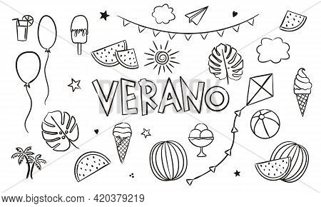 Spanish Summer Coloring. Doodle Elements For Seasonal Calendar. Hand-drawn Doodle Objects Isolated O
