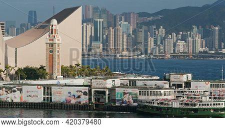 Tsim Sha Tsui, Hong Kong 10 February 2021: Clock tower in Hong Kong