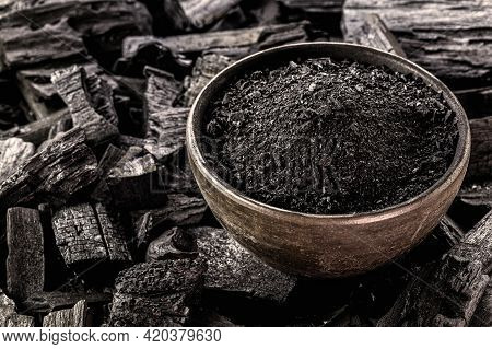 Powdered Charcoal, Ground In A Handmade Clay Bowl. With Coal Bottom To Bottom, Used In The Beauty In