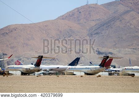 May 12, 2021 In Victorville, Ca:  Stored Delta 717 Aircraft On The Tarmac Taken At The Victorville,
