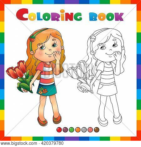 Coloring Page Outline Of Cartoon Girl With Bouquet Of Tulips. Birthday. Mother's Day. 8 March. Valen