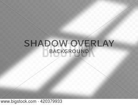 Shadow Overlay Effect Background. Monochrome Background For Design. Transparent Shadow Of Window
