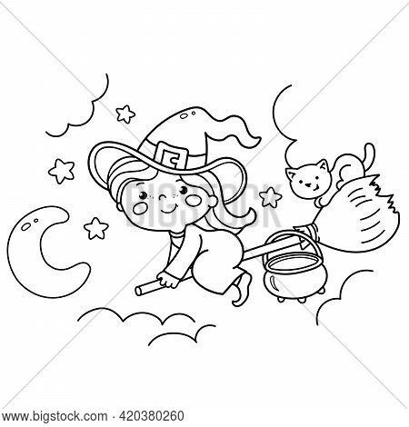 Coloring Page Outline Of Cartoon Little Witch On A Broom With A Pot And With A Cat. Halloween. Color