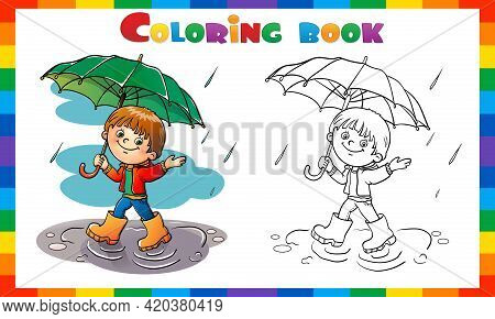 Coloring Page Outline Of Cartoon Boy Walking In The Rain With Umbrella. Coloring Book For Kids.