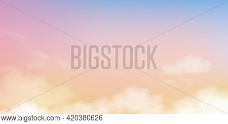 Sky With Fluffy Clouds In Pastel Tone Light Blue, Pink And Orange Colour,backdrop Of Fantasy Magical