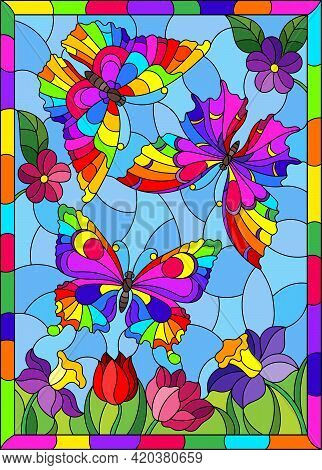 An Illustration In The Style Of A Stained Glass Window With Beautiful Bright Butterflies On A Backgr