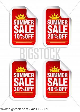 Summer Sale Red Sticker Set. Sale 10%, 20%, 30%, 40% Off. Stickers With Yellow Sun Icon. Vector Illu