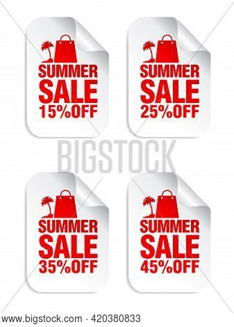 Summer Sale White Stickers Set With Shopping Package And Palm Red Icon . Sale Stickers 15%, 25%, 35%
