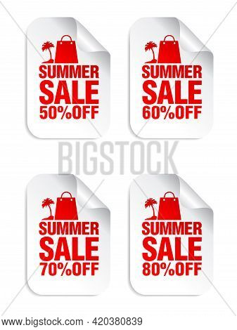 Summer Sale White Stickers Set With Shopping Package And Palm Red Icon . Sale Stickers 50%, 60%, 70%