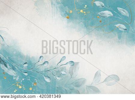 Pale Blue Leaves With Golden Dust - Botanical Design Banner. Floral Pastel Watercolor Border Frame.