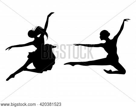 Abstract Black Stencil Silhouettes Of Slender Ladies Dancer In Jump, Hand Drawing Vector Illustratio