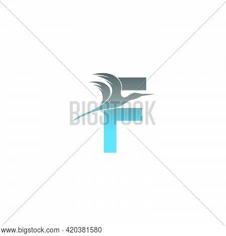 Letter F Logo With Pelican Bird Icon Design Vector