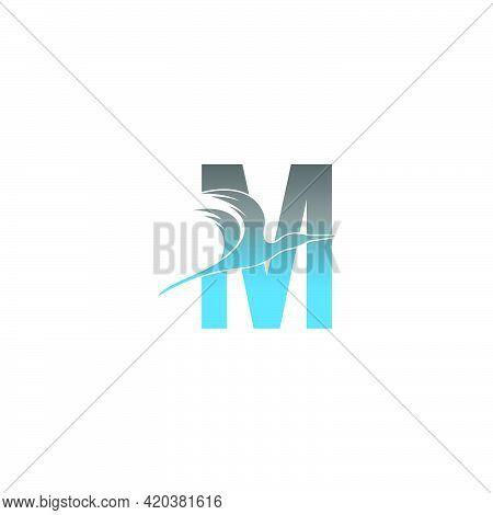 Letter M Logo With Pelican Bird Icon Design Vector