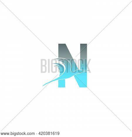 Letter N Logo With Pelican Bird Icon Design Vector