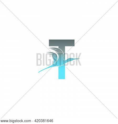 Letter T Logo With Pelican Bird Icon Design Vector