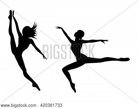 Abstract Black Stencil Silhouettes Of Attractive Slender Ladies Dancer In Jump, Hand Drawing Vector